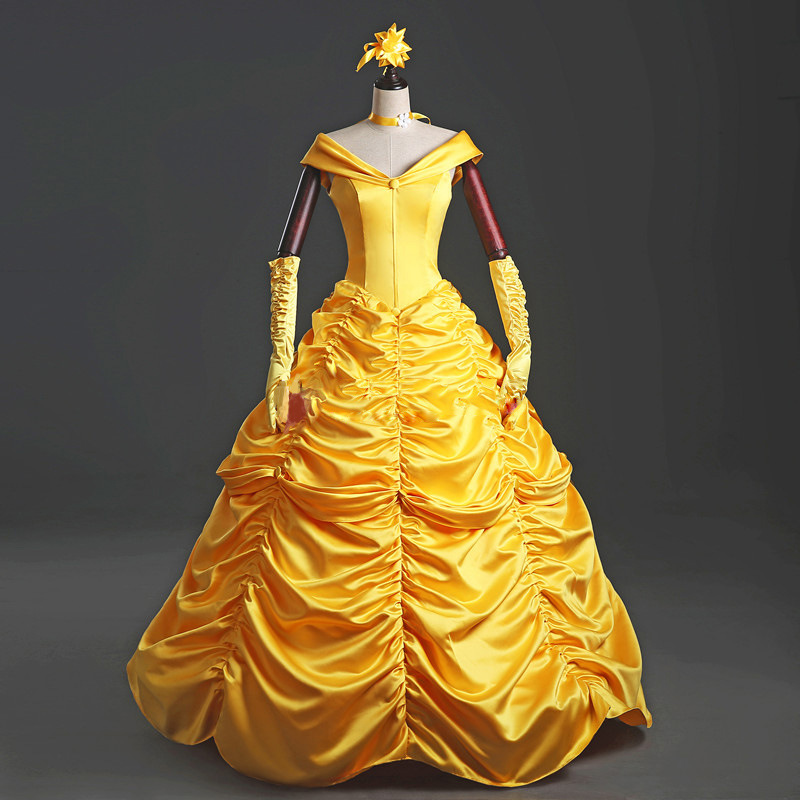 New adults cosplay christmas womens princess ball gown beauty and the beast belle costume for kids dress yellow gown fancy women