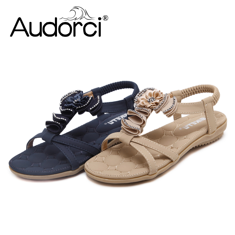 Audorci Women Shoes 2018 Bohemian Woman Sandals Summer Beach Sandals Woman Flip Flops Ladies Flat Sandals Shoe Size 35-41 plardin bohemia summer casual women wedges flat sandals platform 2018 woman ladies beach shoes flip flops genuine leather shoes
