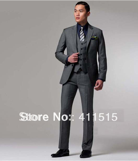 Free Shipping High Quality Cheap Wedding Groom Wear Dress Custom Made Men Business Middle Grey Suits Man Dark Gray Tuxedos