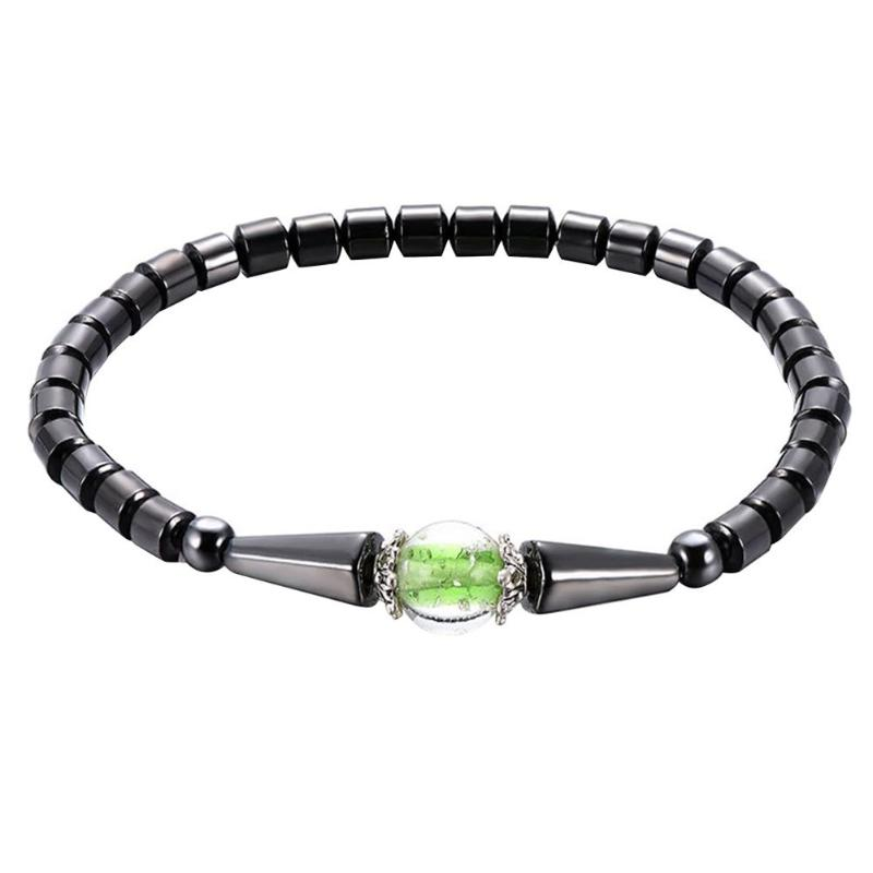 1Pc Weight Loss Round Black Stone Magnetic Therapy Anklet Health Care Magnetic Hematite Stretch Anklet For Men Women Jewelry 12