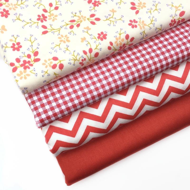 100% Baumwoll-twill Tuch Beige Obst Und Floral Red überprüfen Chevron Stoff Für Diy Krippe Bettwäsche Kissen Bekleidung Quilten Decor Tela