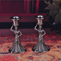 Zinc alloy creative European Virgin Mary candle holder metal craft decoration classic retro candlestick decoration