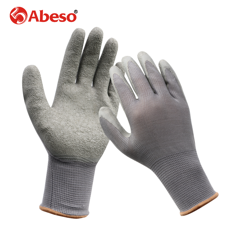 1 Pair Nylon Knitted Wrinkle Glue Safety Gloves Gardener Repairer Hands Protection Cut-Resistant Durable Grey Working Gloves