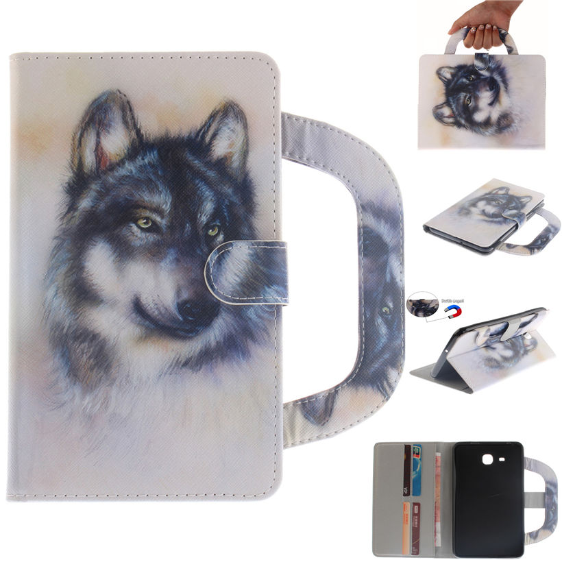 Fashion Case Cover For Samsung Galaxy Tab A A6 7.0 T280 T285 SM-T285 Smart Case Funda handbag Animal painted PU Leather Shell