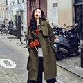 [XITAO] НОВАЯ осень Европейский ветер повседневный стиль сплошной цвет длинные свободные формы отложным воротником однобортный женский траншеи AWB-001