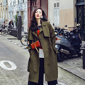 [XITAO] NEW autumn European wind casual style solid color long loose form turn-down collar single breasted female trench AWB-001