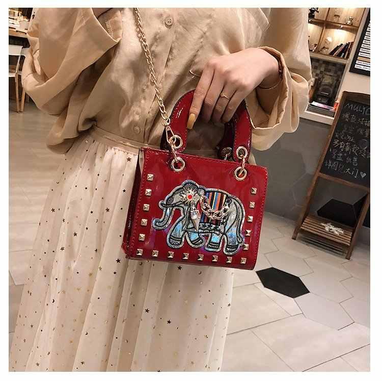 2019 Высокое качество заклепки слон вышивка Бриллианты Женские сумки-мессенджеры девушки подарок вечерняя сумочка вечерние кошелек сумка