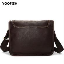 купить YOOFISH Classic Hot selling Free Shipping  Casual Genuine Leather Handbag Laptop Business bag Unisex Coffee/Brown XZ-064 недорого
