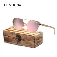 2017 New BEMUCNA Cat Eye Wood Bamboo Sunglasses Women Fashion Mirror Sunglasses Women Brand Designer Polarized Lens