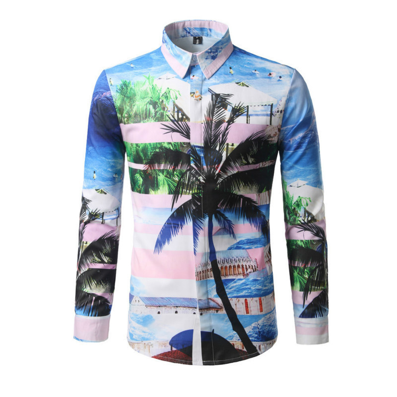 Palm Tree Print Beach Casual Shirt Boys Vintage Colorful Tops Summer Wear Handsome Boy Novelty Covered Button Shirts Fashion Man