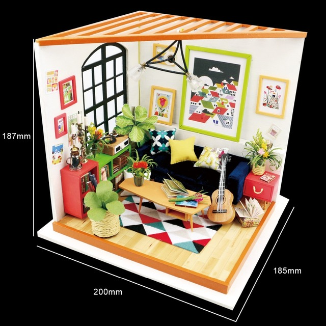 Robotime DIY Locus Sitting Room with Furniture Children Adult Miniature Wooden Doll House Model Building Kits Dollhouse DG106