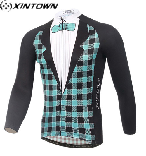 XINTOWN goedkope kleding china Ropa ciclismo Winddicht herfst Groen Plaided Jurk Volledige Mouwen Jersey Lange mallot ciclismo Kleding