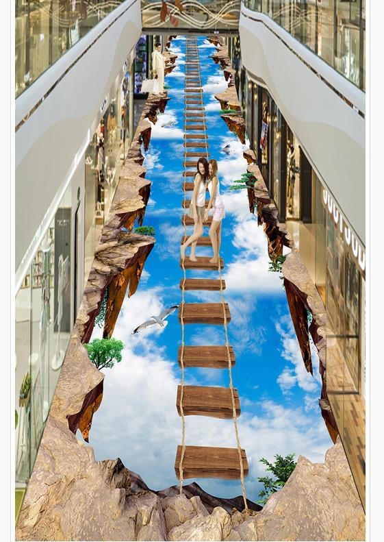 Photo personnalisée auto-adhésif 3D plancher PVC imperméable à l'eau plancher décoration de la maison 3d plancher papier peint 3D peintures murales papier peint