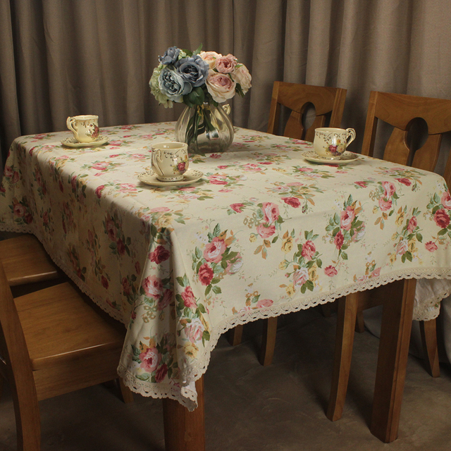Curcya Beige Cotton Tablecloth For Wedding Country Style Roses Flowers Printed Tea Coffee Table Cloth Covers