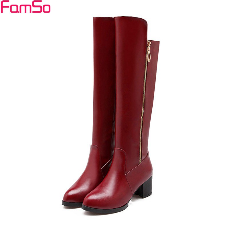 Big Size34 47 2017 New Sexy Women Long Knee High Boots black red High Heels Pointed