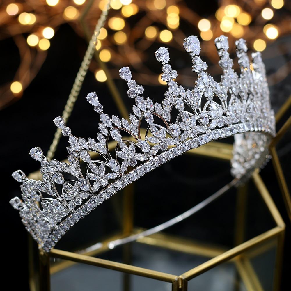 Alta calidad circonio cubico romantico nupcial flor tocado corona de dama de honor de la boda accesorios para el cabello joyeria-in Joyería para el cabello from Joyería y accesorios    1