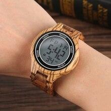 Led digital relógios masculinos retro ébano madeira artesanal relógio de pulso eletrônico couro amadeirado homem do esporte relógio de luxo reloj hombre