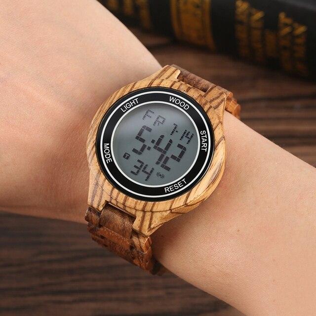 Montres rétro pour hommes, montre bracelet électronique en bois débène, fait à la main, en cuir, boisé Sport, horloge de luxe, LED