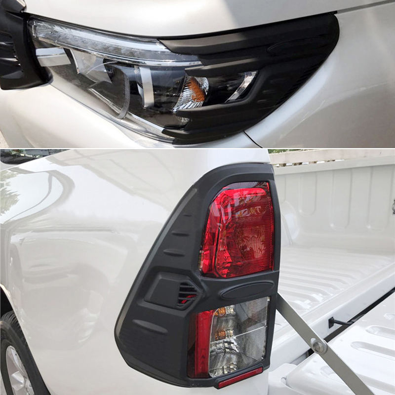 For Toyota Hilux Revo 2016 2017 2018 ABS Plastic Front Head Light Eyebrow Cover + Rear Tail Light Lamp Cover Trim 4pcsFor Toyota Hilux Revo 2016 2017 2018 ABS Plastic Front Head Light Eyebrow Cover + Rear Tail Light Lamp Cover Trim 4pcs