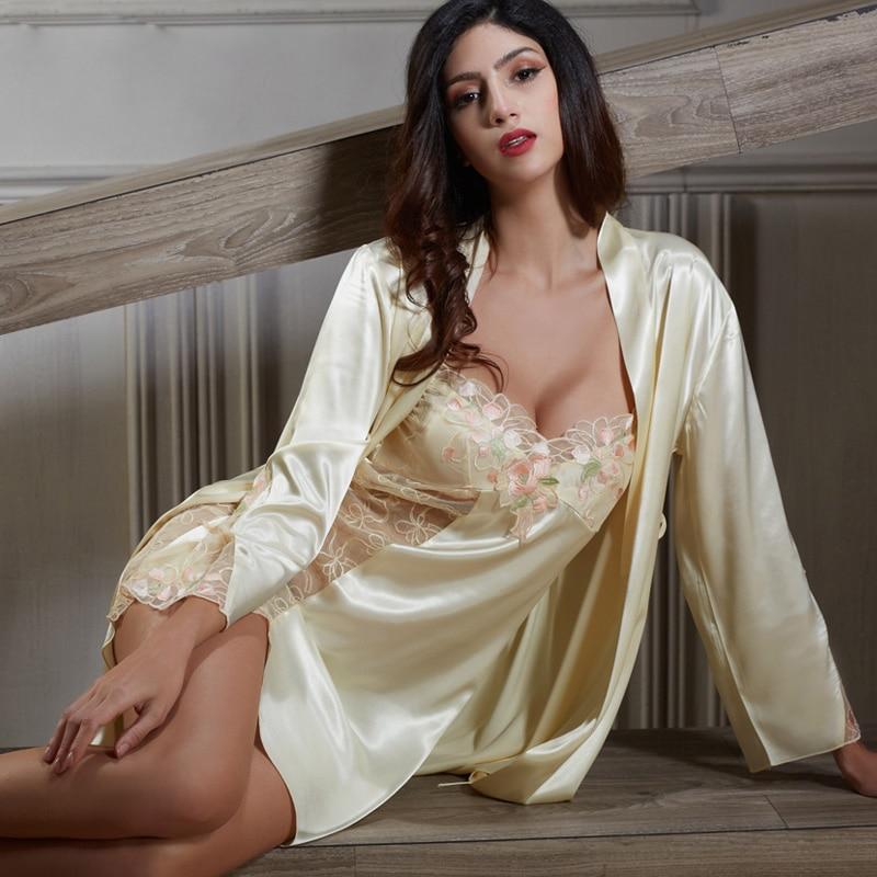 Xifenni Robe Sets Female Satin Silk Sleepwear Women Elegant Embroidery Bathrobes Two-Piece Sexy Lace Home Clothes 6622