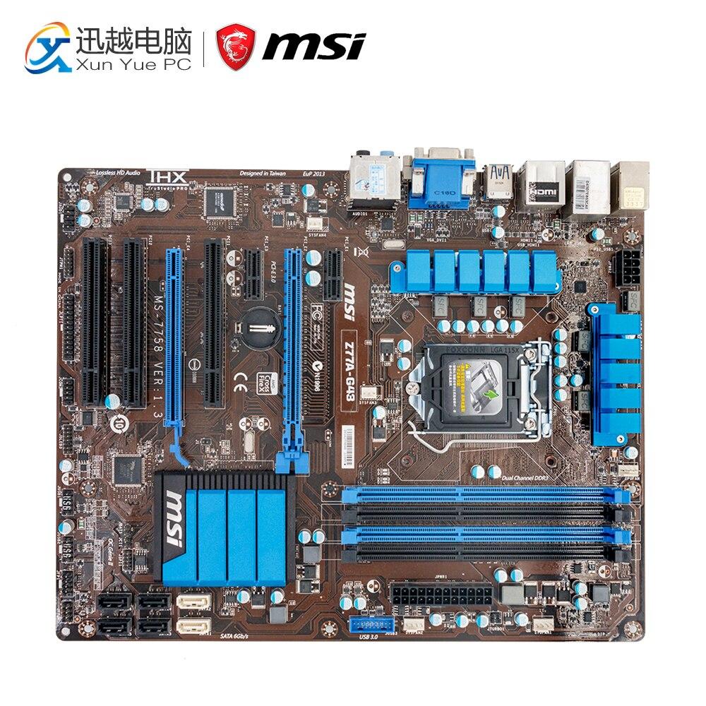 MSI Z77A-G43 Desktop Motherboard Z77 Socket LGA 1155 i3 i5 i7 DDR3 32G SATA3 USB3.0 ATX msi z77a gd65 gaming desktop motherboard z77 socket lga 1155 i3 i5 i7 ddr3 32g sata3 usb3 0atx