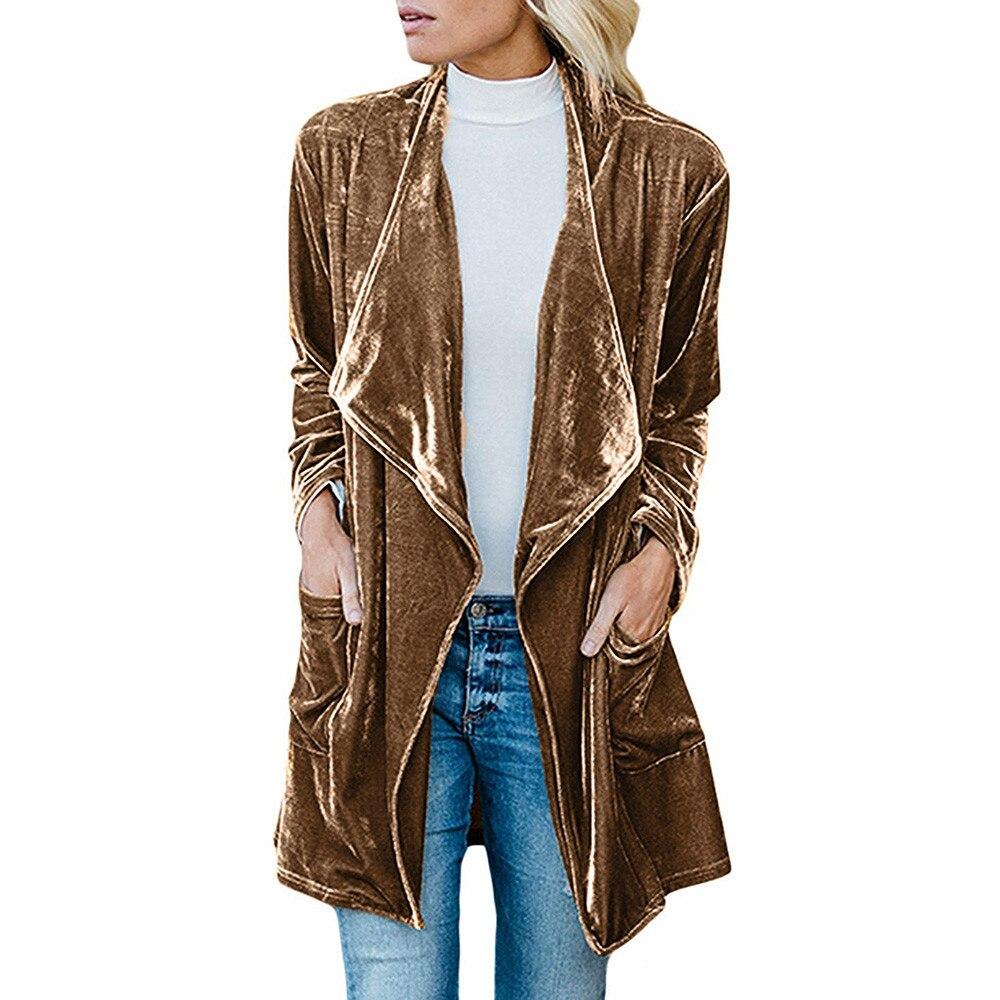Winter Women Jacket Drape Velvet Jacket Open Front Cardigan Coat with Pockets Winterwear