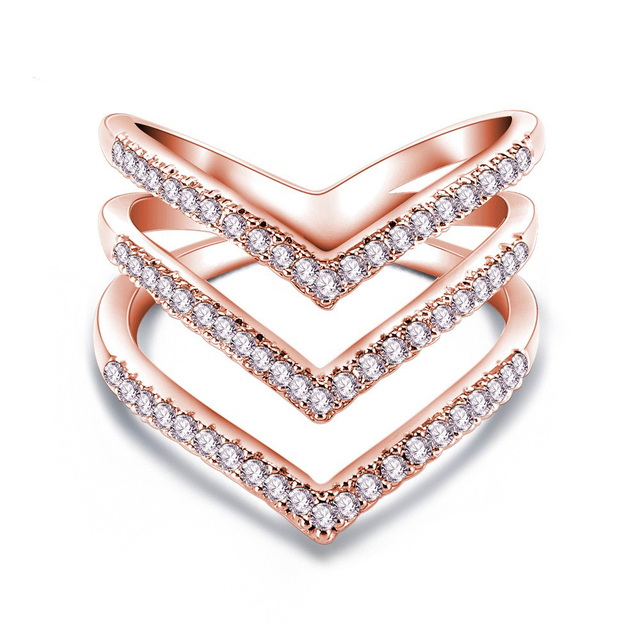 Shiny rose gold zircon three-layer V-shaped crystal ring for women/fashion women jewelry engagement ring bague femme SP284