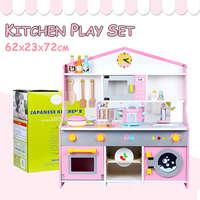 Wooden Pretend Kitchen Cookware Play Set Toy kids Cooking Food Girl Pink Gift
