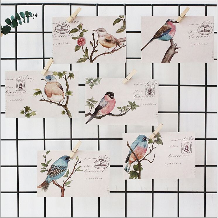 30Pcs/pack Retro Flower Bird's Letter mail Stamps Postcard Greeting Card Envelope Gift Birthday Card Message Card Escolar 30pcs in one postcard take a walk on the go paris france christmas postcards greeting birthday message cards 10 2x14 2cm