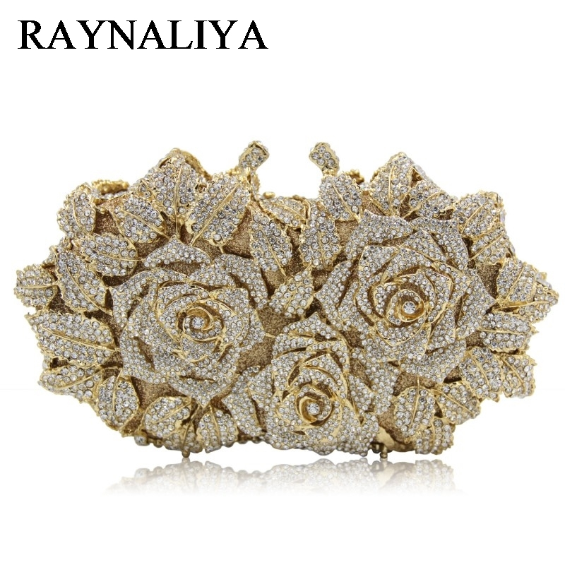 Women Gold Rose Flower Hollow Out Crystal Evening Metal Clutches Small Minaudiere Purse Wedding Box Clutch Bag ZH-A0364 women famous brand crystal evening purse metal clutches gold