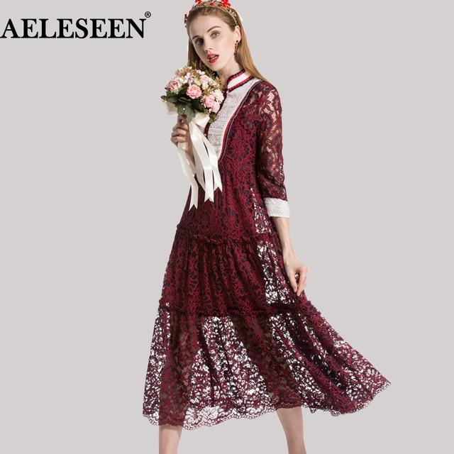 Elegant Female Lace Dress Spring Topshop 2018 34 Sleeve Fashion Rer