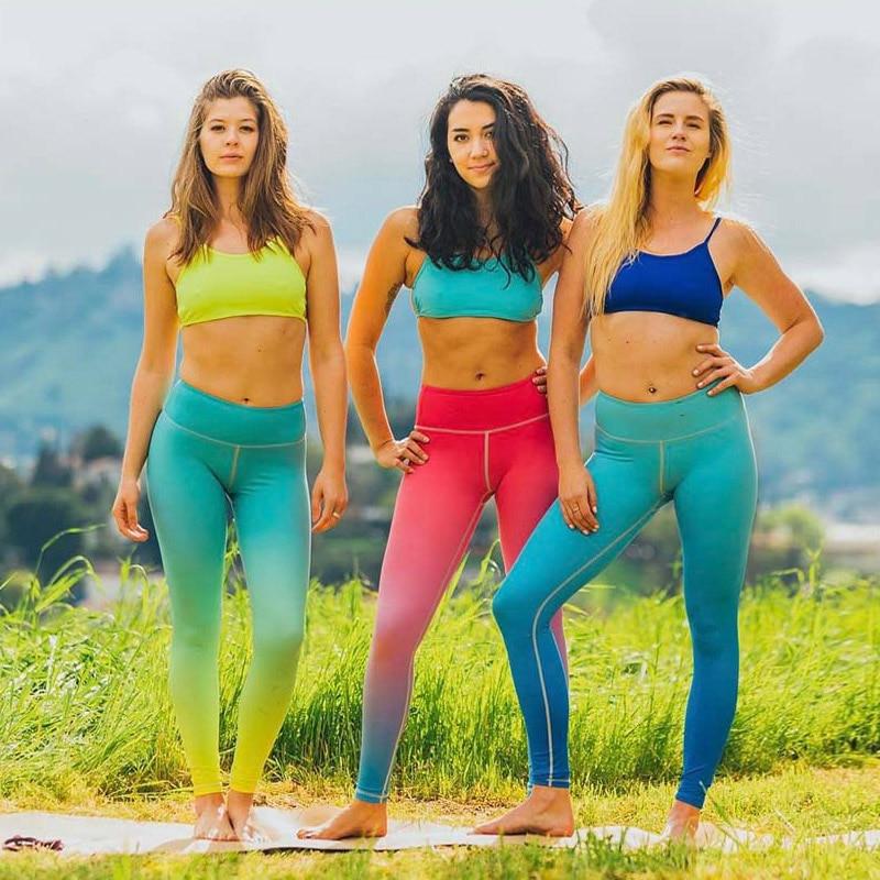2018 New Tight Yoga Pants Gradient Printed Leggings Fitness Women Flexible Pants Stretch Exercise Pants Female Trainning Pants