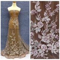 2017 NEW Style Gray Pink Yellow Beige Rhinestones Pearls 3D Flowers Heavy Handmade Wedding Dress Lace