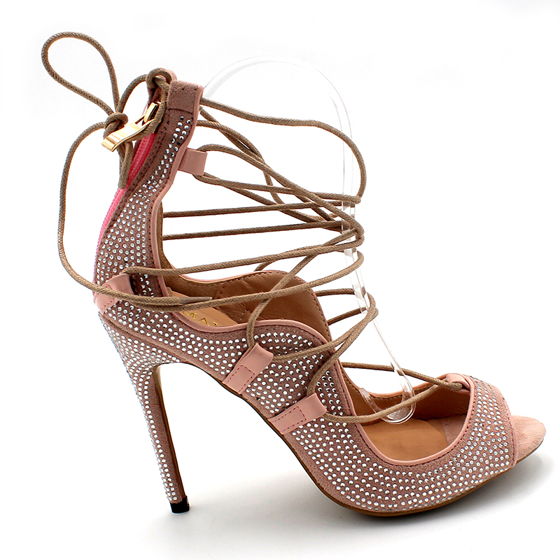 12c399e10796 ENMAYER Open Toe Lace up Shoes Gladiator Summer Sandals Pumps Extreme High  Heels Light Pink Colors Party Womens-in High Heels from Shoes on  Aliexpress.com ...