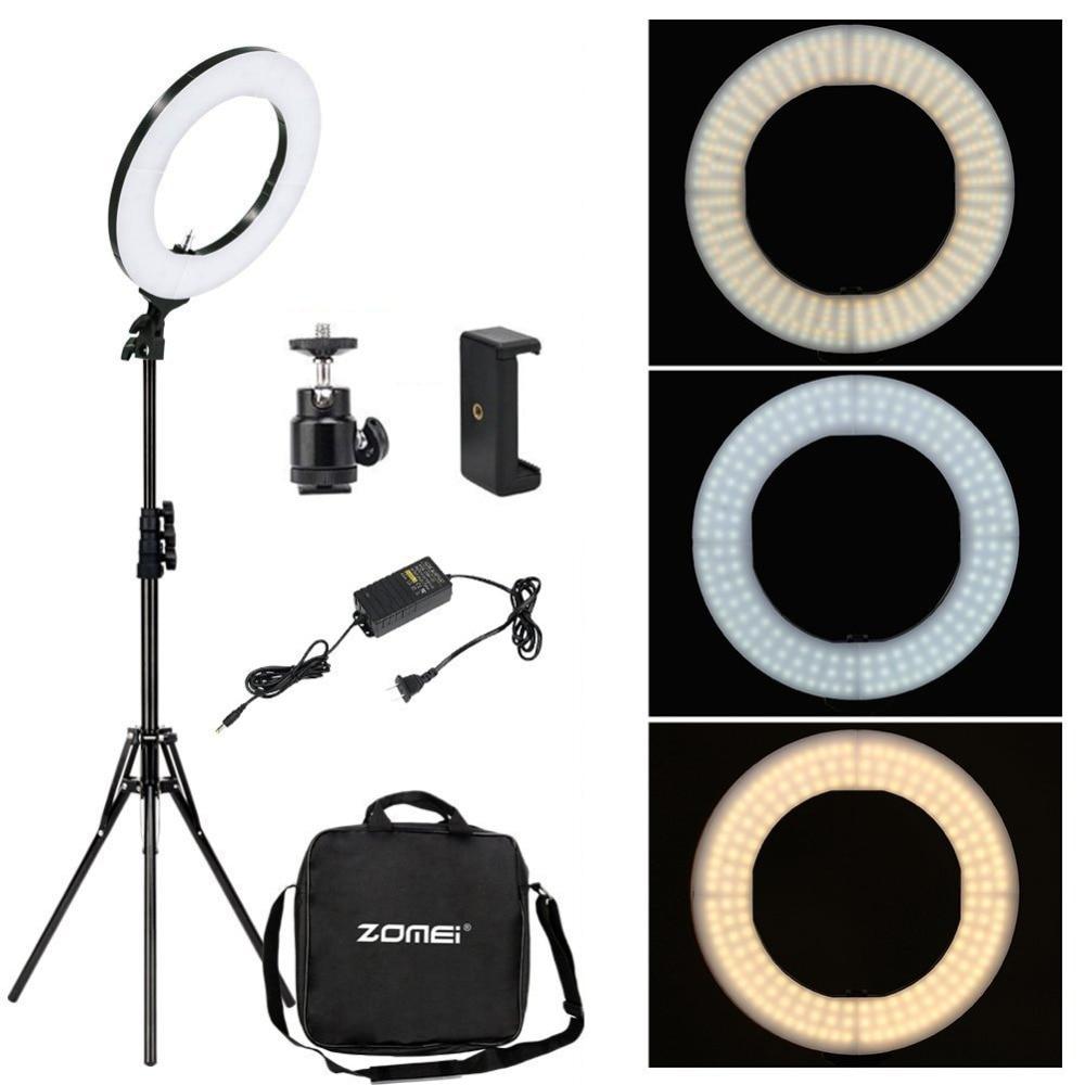 Zomei Regulável Fotografia Estúdio Fotográfico Ring Light 3200-5600 K CONDUZIU a Iluminação Adaptador de Telefone Maquiagem Para Transmissão Ao Vivo de Vídeo