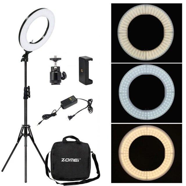 Zomei 調光可能な写真撮影写真スタジオリングライト 3200 5600 18K LED 照明電話アダプタのためのライブ放送ビデオ