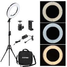 Zomei Anillo de luz de estudio fotográfico regulable, iluminación LED de 3200 5600K, adaptador de teléfono, maquillaje para vídeo de transmisión en vivo