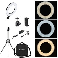 Zomei Dimmable Photography Photographic Studio Ring Light 3200 5600K LED Lighting Phone Adapter Makeup For Live Broadcast Video