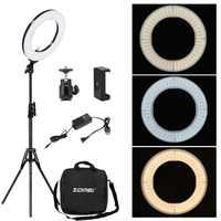 Zomei Dimmable fotografía estudio fotográfico anillo luz 3200-5600 K LED iluminación teléfono adaptador maquillaje para vídeo en directo