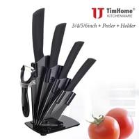"Timhome ceramic knife set 3"" 4"" 5"" 6"" inch peeler with acrylic knife holder zirconia ceramics blade kitchen knife|knife set|ceramic knife set|knife ceramic set -"