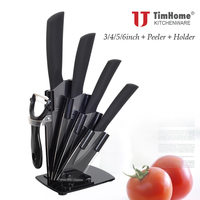 Timhome Ceramic Knife Set 3 4 5 6 Inch Peeler With Acrylic Knife Holder Zirconia Ceramics