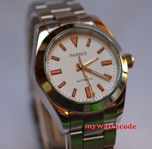 цена 40mm parnis white dial sub sapphire automatic movement mens watch P201 онлайн в 2017 году