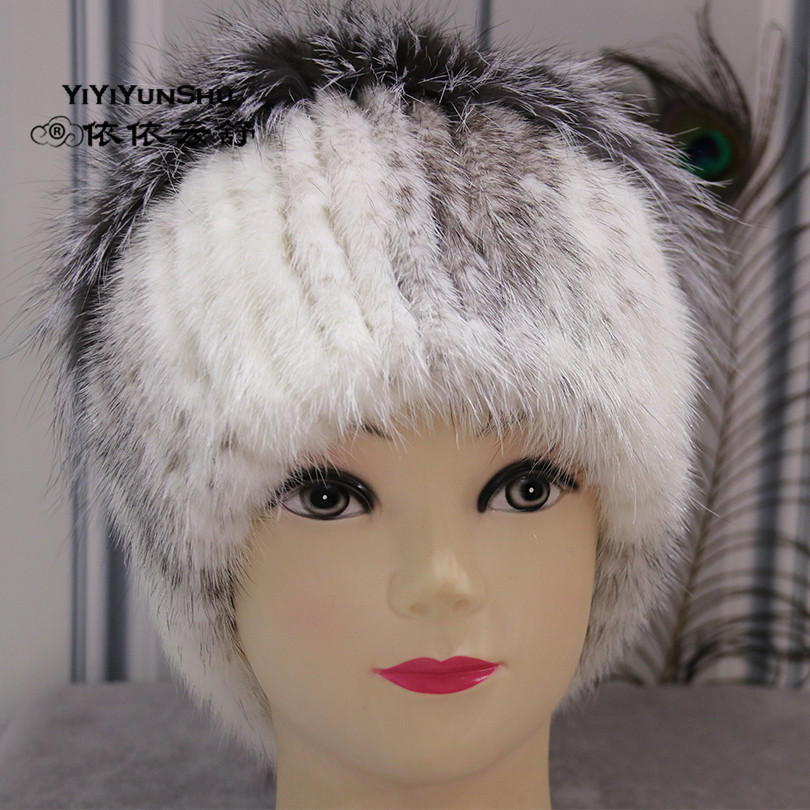 YIYIYUNSHU Real Mink Fur Hat For Women Trendy Knitted Beanies Headwear Hats Fashion Warm Female Genuine Fox Fur Caps Winter Hat