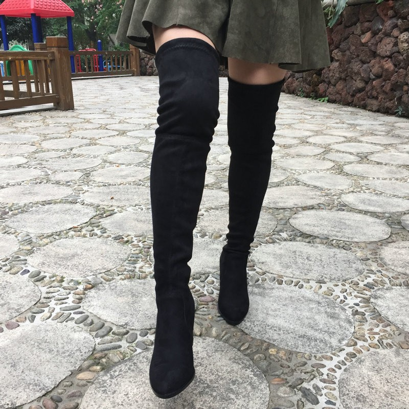 Womens Faux Suede Comfort Thick High Heel Thigh High Boots Fashion Stretch Over the Knee Boots Female Back Lace-up Black Gray suede chunky heel womens thigh high boots