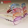Recorte ultraligero titanium del diamante de cristal de diamante marco miopía anteojos sin montura de color femenino femenino para las mujeres yj45