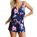 2016 New Style Summer Women Floral Print Sexy Short Jumpsuit Strap Backless  Deep V-neck Beach Overalls Romper Playsuit Jumpsuit