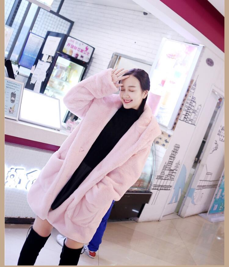 Manteau 2017 Et De Fourrure Veste Femme Mode Lapin En Nouvelle Coréenne Peluche Automne Tempérament Long Imitation D'hiver arwxa1