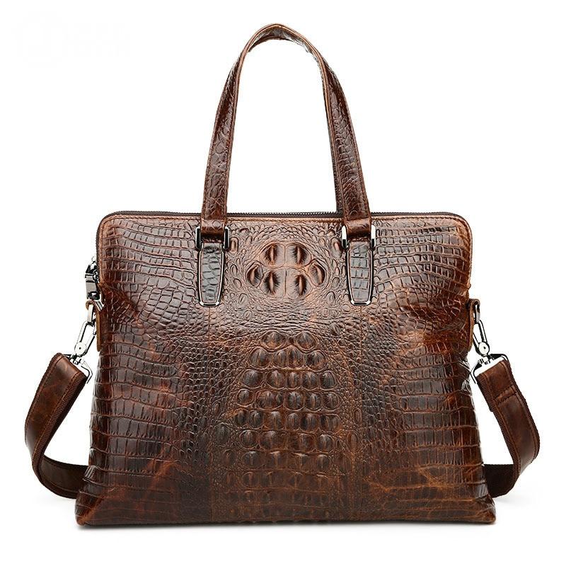 Real Genuine Leather Men Business Tote Handbag Vintage Crocodile Pattern Laptop Briefcase Oil Wax Cowhide Shoulder