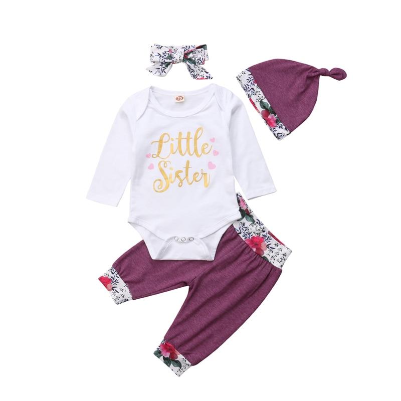 0-18 м для новорожденных девочек цветочные боди комбинезон, штаны шляпа повязка на голову комплект Весна Осенняя одежда