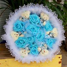Hot sale Gift wrap color rose with Soft Plush teddy bear Bouquets Toy Valentine/Graduation Gift free shipping